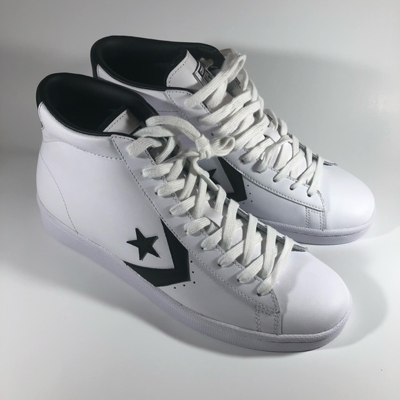 c24a1e4a9c5f Converse Pro Leather 76 Mid White Black 157425C